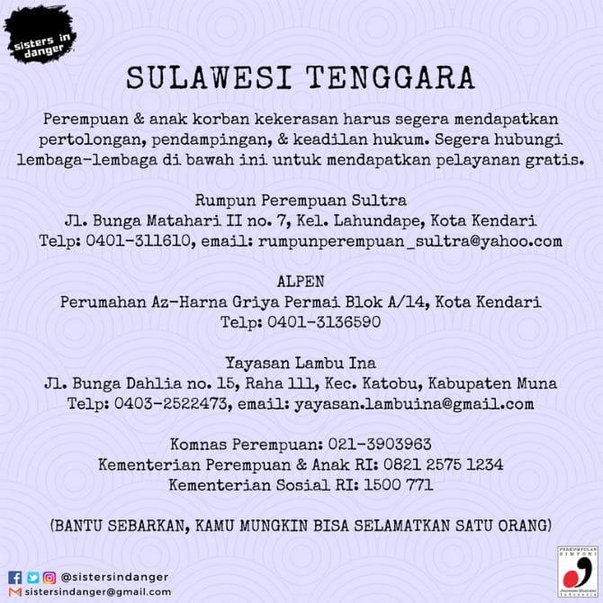 Kontak lapor KDRT Sulawesi Tenggara