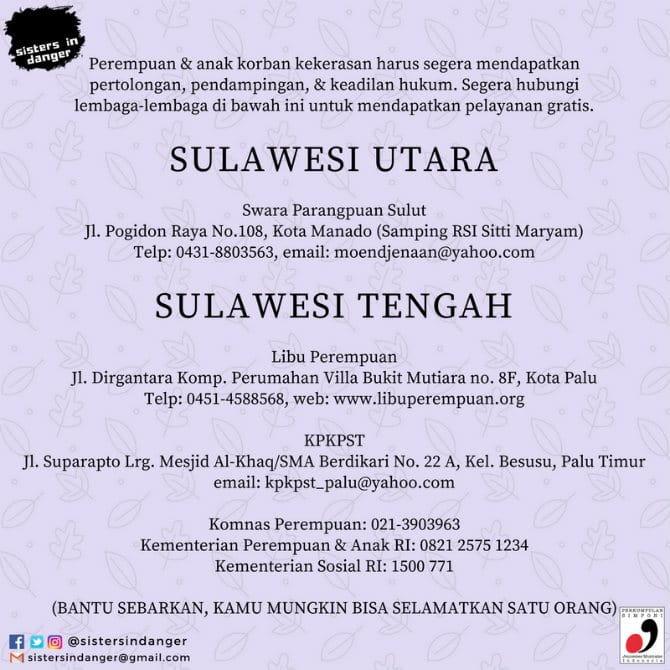 Kontak lapor KDRT Sulawesi Tengah dan Sulawesi Utara